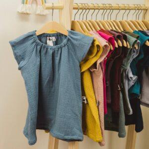 Bluse – Musselin – jeansblau