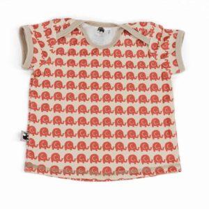 kurzarm Shirt – Elefanten – rot