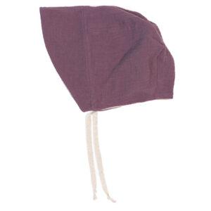 Bonnet – Haube aus Musselin – malvenlila