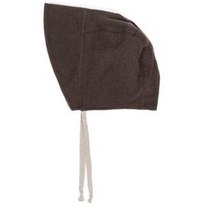 Bonnet – Haube aus Musselin – dunkles schokobraun