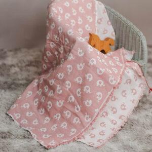 leichte Babydecke – Elefanten – altrosa