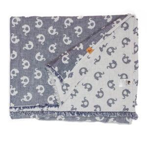 leichte Babydecke – Elefanten – jeansblau