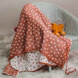 leichte Babydecke – Punkte – rostorange