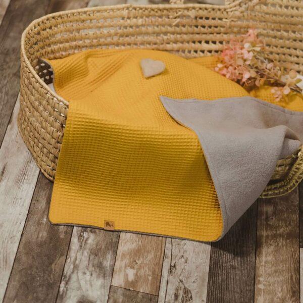 Mummelito-Decke-Waffelpique-senfgelb (1)