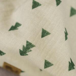 XXL-Musselintuch – viereckig – Dreiecke natur – grün