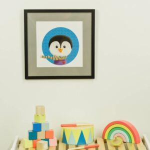 Kinderzimmerbild – Pinguin – quadratisch