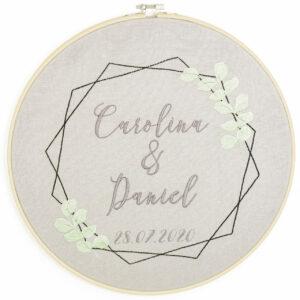 bestickter Rahmen – Hochzeit – Eukalyptus