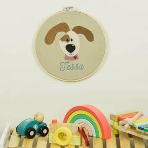 bestickter Rahmen – Hund