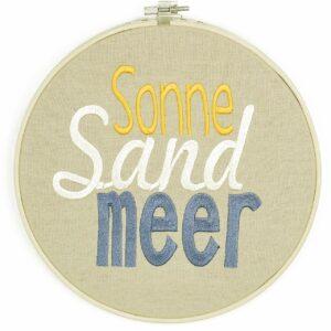 bestickter Rahmen – Sonne, Sand, Meer