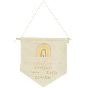 bestickter Wimpel – Baby – Regenbogen