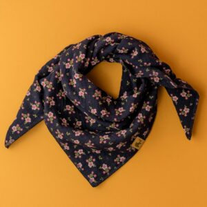 Musselintuch – Blümchen – marineblau – Kind