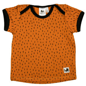 kurzarm Shirt – Striche – rostorange